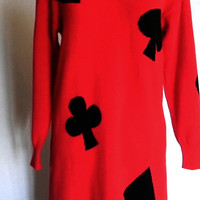 80s Sweater Dress. Playing cards dress. Vintage sweater  dress. Size Medium. Queen of Hearts. Halloween costume. Fall fashion