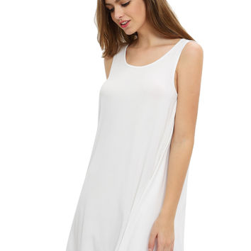 White Sleeveless Short Shift Dress