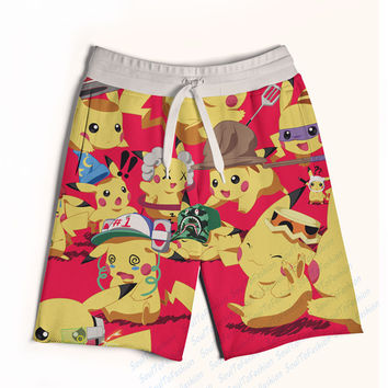 2 Colors Real USA size Custom Made Pokemon 3D Sublimation Print Fifth & Seventh Shorts with String