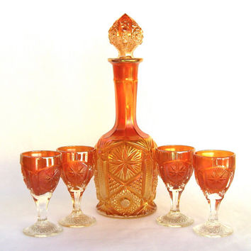 Imperial Marigold Carnival Glass Decanter Set, Star and File, Vintage Colored Orange Glass, Bar Glasses Cordials, Iridescent
