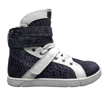 Black Anaconda/White Hightop Bodybuilding Sneaker