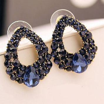 Luxury Simulated Sapphire Blue Crystal Oval Stud Earrings for Women Piercing Jewelry