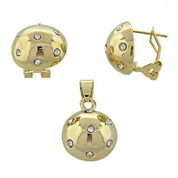 Gold Layered 5.045.004 Earring and Pendant Adult Set, Ball Design, with White Crystal, Polished Finish, Gold Tone