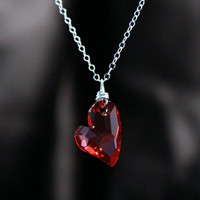 Red Heart Pendant with Chain Silver chain Devoted to you pendant Wire wrapped Metal Jewelry Luxe Style