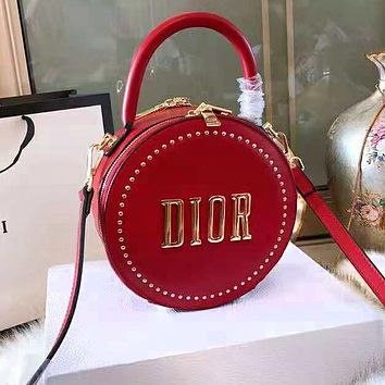 DIOR High Quality Trending Women Stylish Leather Circular Rivet Handbag Tote Shoulder Bag Crossbody Satchel Black