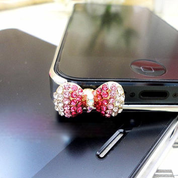 Delicate Pink Crystal Bowknot Anti Dust Plug 3.5mm Smart Phone Dust Stopper Earphone Cap Headphone Jack Charm for iPhone 4 4S 5 HTC Samsung