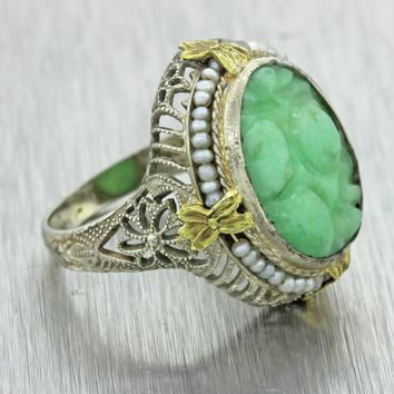 Antique Art Deco Estate Filigree 14k White Gold Carved Jade Seed Pearls Ring