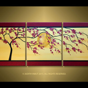 Painting Red Cherry Blossom Art; Made to order; Trees; red and gold canvas art 48x20x1.5 Asian Zen Tree Art over moon