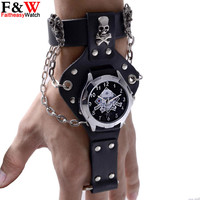 New Fashion Cool Men Leather Punk Rock Chian Skull Band Quartz Bracelet Cuff Wrist Watch Gift For Men Relogio