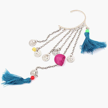 Tassel and Bead Cuff Earring