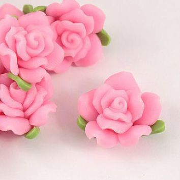 Free Shipping 100Pcs 15mm Pink Polymer Fimo Clay Flower Charms Beads With Leaf For Jewelry Making Craft Bracelet DIY Beads