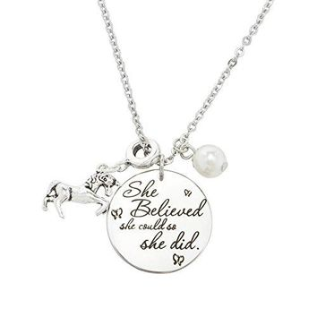 AUGUAU Inspirational Jewelry Necklace for Women Girls Gift - She Believed She Could So She Did