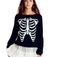 Casual  Skull Skeleton Print Sweater