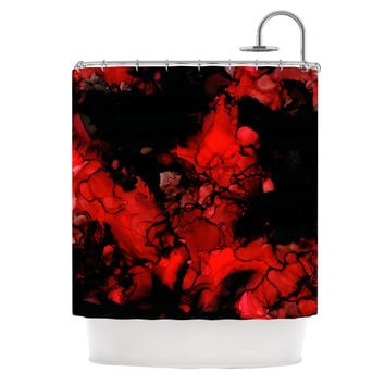 "Claire Day ""Vesuvius"" Red Dark Shower Curtain"