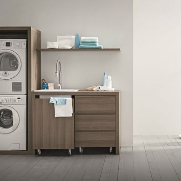 ELM LAUNDRY ROOM CABINET WITH SINK FOR WASHING MACHINE IDROBOX | ELM LAUNDRY ROOM CABINET | BIREX