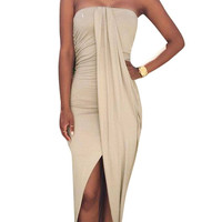 Khaki Ruch Tube Slit Dress