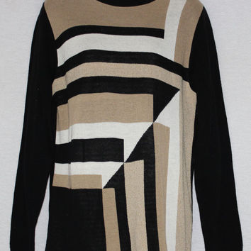 Alfred Dunner 1980's Small Textured Abstract Geometric Color Block Blouse Tunic Sweater USA Made B26