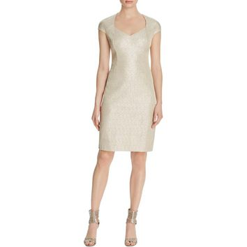 Kay Unger Womens Metallic Sheath Cocktail Dress