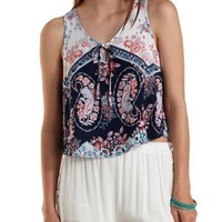 Ivory Combo Tie-Front Paisley Flyaway Tank Top by Charlotte Russe