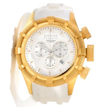 Invicta 11816 Men's Reserve Bolt Sport White Dial White Rubber Strap Gold Tone Stainless Steel Chronograph Dive Watch