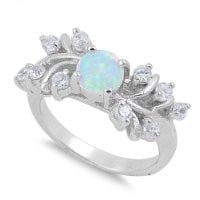 Sterling Silver Created White Opal Ring - Size 9
