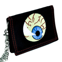 Evil Eye Ball Tri-fold Wallet with Chain Occult Clothing