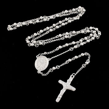 Rosary Beads chain Cross Religious Silver Chain Stainless Steel Necklace Womens Mens fashion necklaces for women catholic BRN05