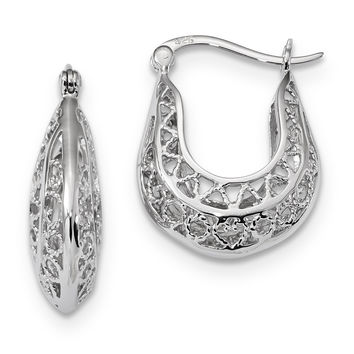 Sterling Silver Rhodium-plated Polished Filigree Hoop Earrings QE13246
