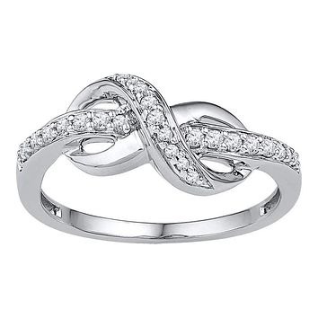 10kt White Gold Women's Round Diamond Infinity Ring 1/5 Cttw - FREE Shipping (US/CAN)