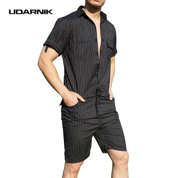 UDARNIK Men Jumpsuit Pants Short Sleeve Slim Striped Summer Bodysuit Rompers Casual  Playsuit Overalls One Piece Bibs 903-793