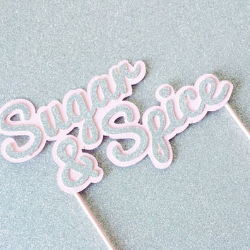 Cake topper Silver Glitter and Pink, Sugar and Spice party cake topper, baby shower Cake Topper,Silver Glitter Cake Topper, Bridal Shower
