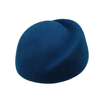 HATsanity Women's Vintage Wool Felt Half Shape Pillbox Hat Blue
