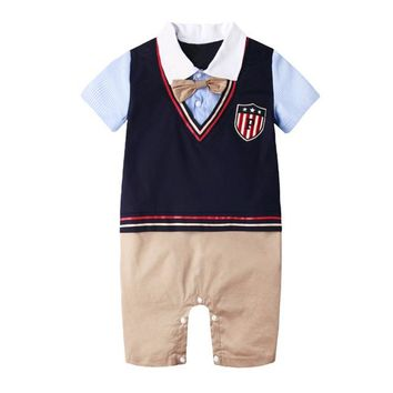 New Summer Baby Rompers Newborn Prince Clothing Bow Tie Formal Gentleman Boys Clothes Infant Jumpsuits