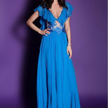 [109.99] Graceful Chiffon V-neck Neckline Floor-length A-line Prom Dresses With Lace Appliques - dressilyme.com