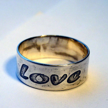 Love ring Sterling silver band etched by MineOverMatter on Etsy