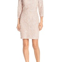 Aidan Mattox Soutache Mesh Sheath Dress | Nordstrom