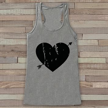 Womens Valentine Shirt - Cute Valentine's Day Tank Top - Women's Happy Valentine's Day Tank - Black Heart Valentines Shirt - Grey Tank Top