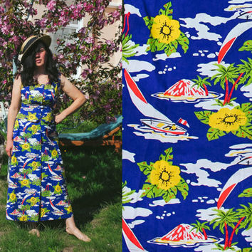 NEW Tropical Summer Set / Stunning New Old Stock Blue Cotton Top + Maxi Skirt; Palms, Yachts, Flowers Print / Hungarian Vintage: MEDIUM, 46
