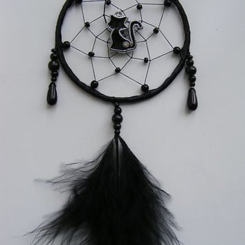 Pretty Gothic Black Cat MINI Dreamcatcher Home or Car Witch Pagan Wiccan