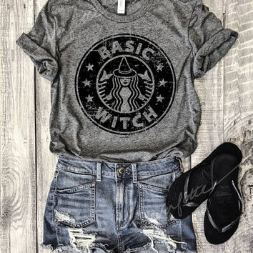 HALLOWEEN BASIC WITCH...Heather Grey Unisex Unbasic Tee, Funny Pet Shirt, Starbucks, Pumpkin Spice, Halloween, Witches, Boos, Coffee, Latte