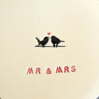 Wedding Ring Holder MR & MRS Plate Little Bird Ceramic Ring Dish Ivory Ring Pillow Custom Ring Bearer Bowl Eco Friendly Pottery