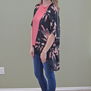 Slow Down Time Feather Print Kimono