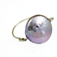RN10-Purple Button Pearl Ring – Rafia