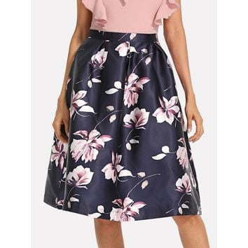 Flower Print Volume Skirt