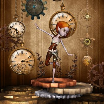 'Cute little steampunk girl with clocks and gears' by nicky2342