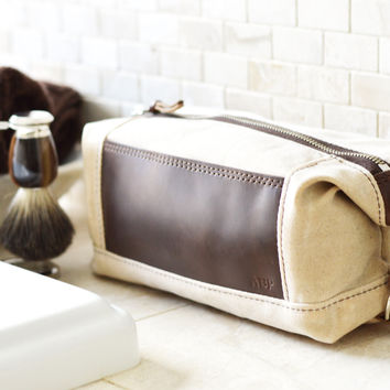 NO. 321 Personalized Expandable Dopp Kit, Natural Ivory Waxed Canvas and Leather