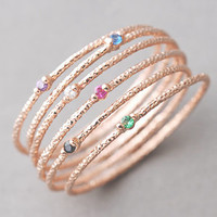 COLOR STONE AND TEXTURED ROSE GOLD THIN RING SET OF 6 from Kellinsilver.com