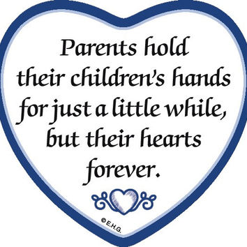 """Parents Hold Their Children's Hands..."" Heart Magnet Tile"