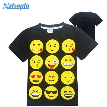 Children Clothing KIDS EMOJI EMOTICONS SMILEY FACES short Sleeve T shirts Fashion Cartoon Tops Tees Clothes for boys 2017 summer