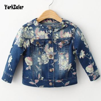 Yorkzaler Spring Autumn Kids Jacket Floral Softshell Denim Coat For Girl Casual Long Sleeve Printed Flowers Toddler Outerwear